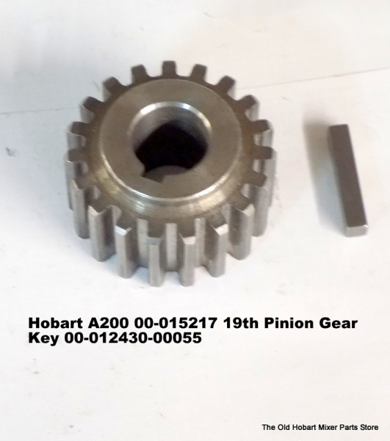 HOBART A-200 AGITATOR SHAFT 19 TOOTH PINION GEAR OLD PART NUMBER M-15217, NEW PART NUMBER 00-015217