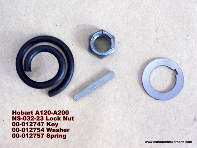 Hobart A120-A200 NS-032-23 Lock Nut 00-012747 Key 00-012754 Washer 00-012757 Spring Shock Absorber