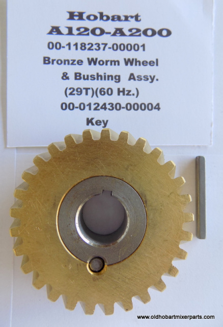 HOBART A-200 BRONZE WORM WHEEL & STEEL BUSHING OLD PART # 124751-3, NEW PARTS # 00-124751-00003
