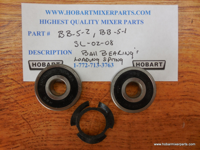 HOBART A-200 WORM WHEEL BALL BEARINGS & LOADING SPRING OLD NUMBERS BB-5-2, BB5-1, SL-02-08, NEW NUMB