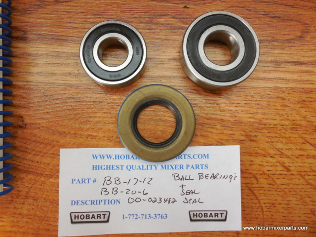 HOBART A-200 AGITATOR SHAFT SET OF BALL BEARINGS AND OIL SEAL, OLD PARTS NUMBER, BB-17-21 BB-20-6 00