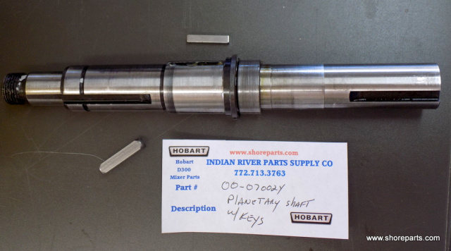 Hobart D300 Mixer 00-070024 Planetary Shaft Used w/ New keys