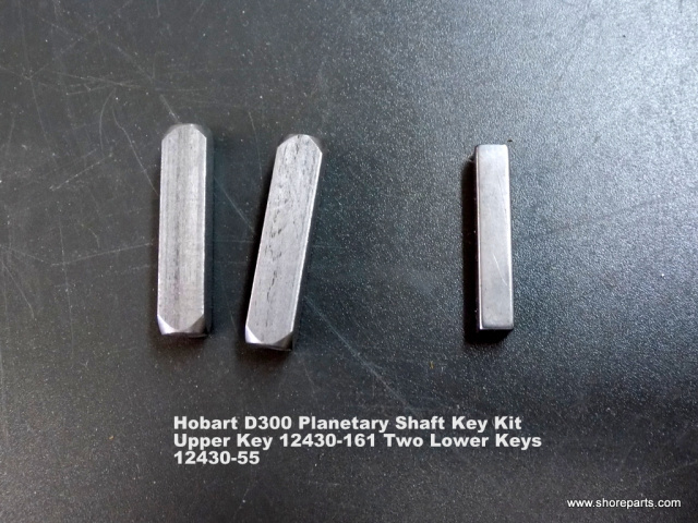 Hobart D300 Planetary Shaft Key Kit Upper Shaft Key 12430-161, Two Lower Keys 12430-55