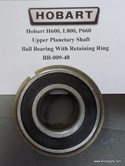 Hobart H600, P660, L800 Mixer Upper Planetary Shaft Ball Bearing With Retaining Ring BB-009-48