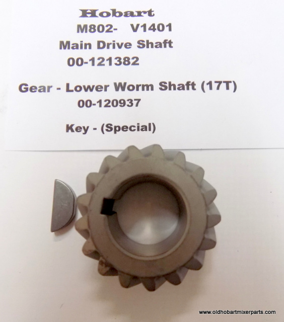 00-121382 Gear - Lower Worm Shaft (17T)With Key  New