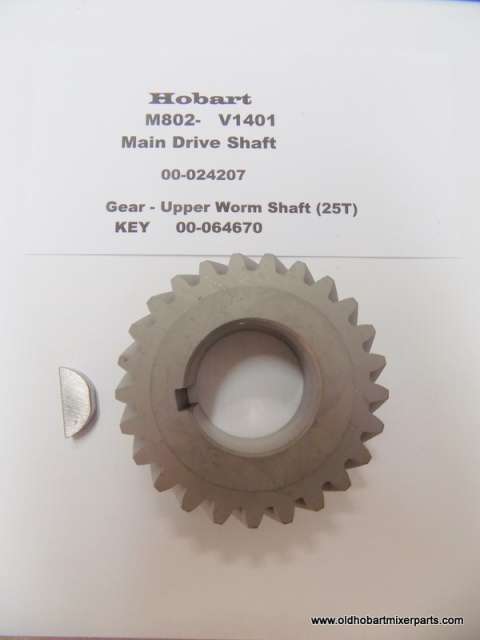 Hobart M802-V1401 Main Drive Shaft 00-024207 Upper Worm Shaft Gear (25T)  With Key 64670 New