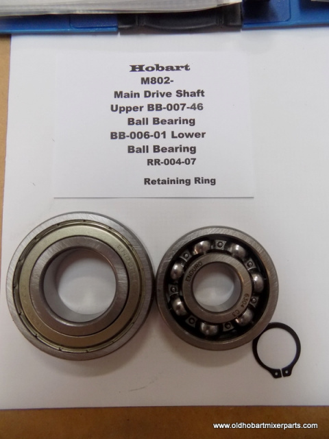 Hobart M802- Main Drive Shaft Top BB-004-46 Lower BB-006-01- Retaining Ring RR-004-07