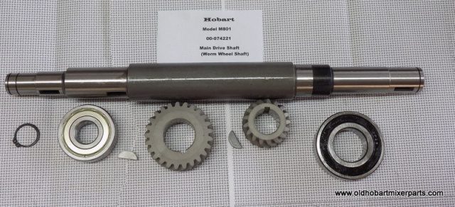 Hobart M802-Main Drive Shaft 00-074221 Bearing BB-007-46, 25 Tooth Gear 00-024207-Key 00-06471 17 To